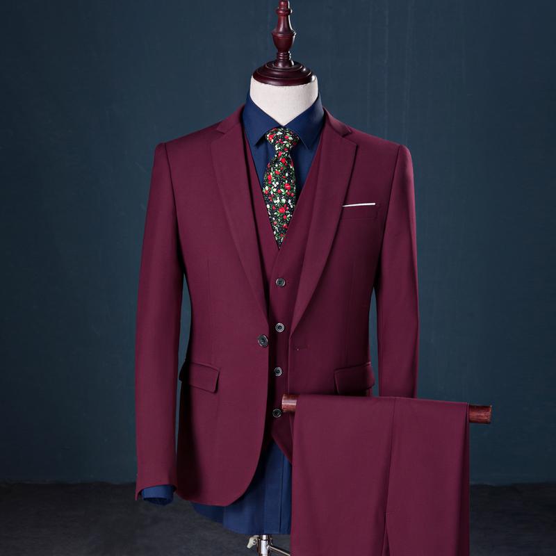 西服三件套装男加肥加大码韩版商务职业西装青年伴郎新郎结婚礼服