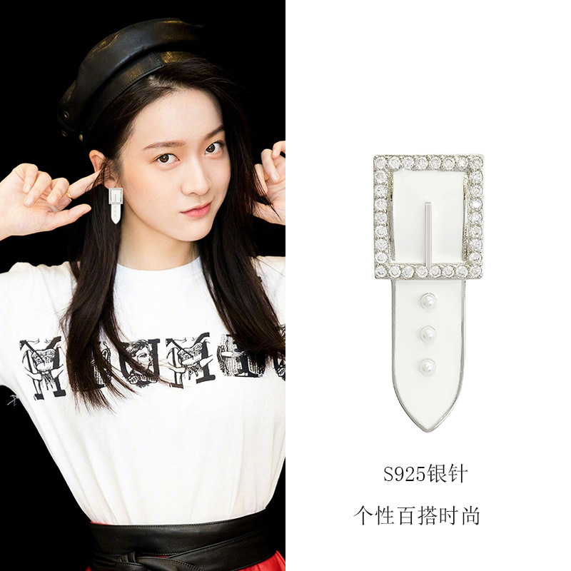 Korean cold belt Earrings S925 silver needle white personality simple diamond inlaid fashion earrings earrings female