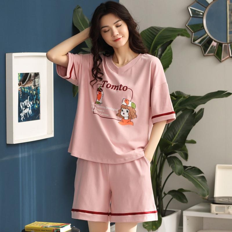 2020新款网红睡衣女夏天纯棉ins短袖女士夏季薄款两件套装家居服