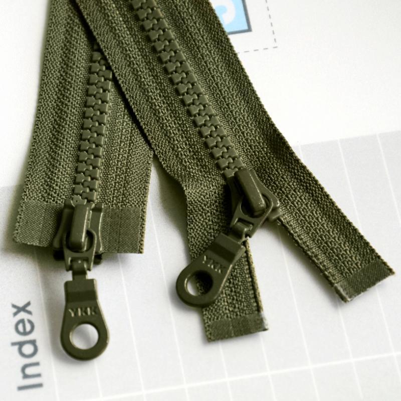 正品ykk拉链5号树脂双开双头长拉锁黑色军绿色76cm高档羽绒服拉链