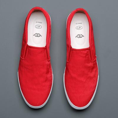时尚红色水洗布男鞋简约舒适低帮帆布鞋男夏季青年一脚蹬透气板鞋