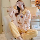 加厚卡通小鸡空气夹棉层孕妇套装睡衣女冬产后月子服哺乳喂奶衣