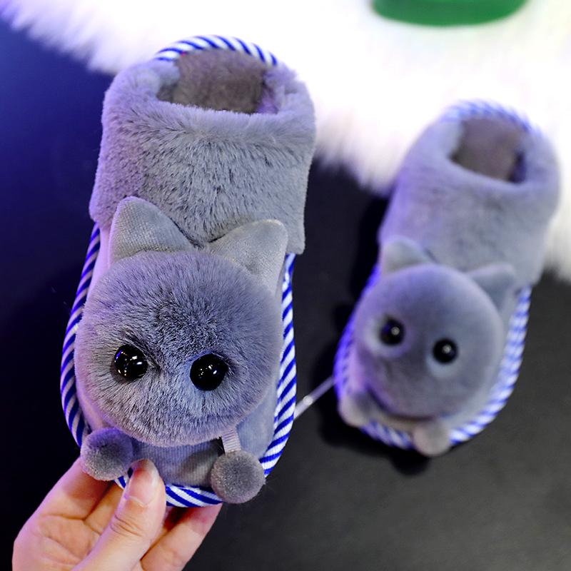 儿童棉拖鞋冬天男女童防滑耐磨拖鞋宝宝棉拖鞋小孩家居加绒毛绒鞋
