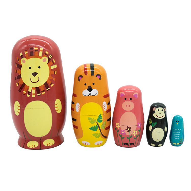 Россия Пятислойная матрешка Обучающие игрушки Детский сад деревянные развивающие игрушки Ремесленные игрушки Куклы для животных