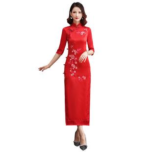 紅色繡花長款旗袍2020年新款秋冬長袖少女年輕款改良厚走秀連衣裙
