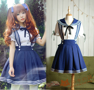 Popular lolita Meng Department students take Japanese sailor waist straps fitted skirt suit sailor suit princess dress