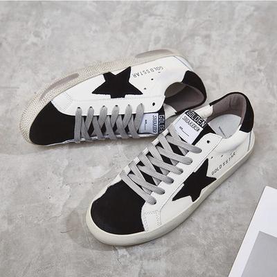阳光姐妹脏脏鞋女春季单鞋2020新款星星真皮小白鞋系带做旧休闲鞋