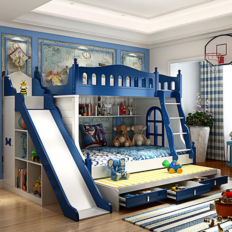 儿童床男孩双层上下铺木床成人高低多功能滑梯组合子母上下床实木券后2880.00元