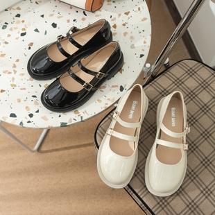 柒步森林学院温柔漆皮平底JK玛丽珍鞋小皮鞋单鞋子女夏季2021新款