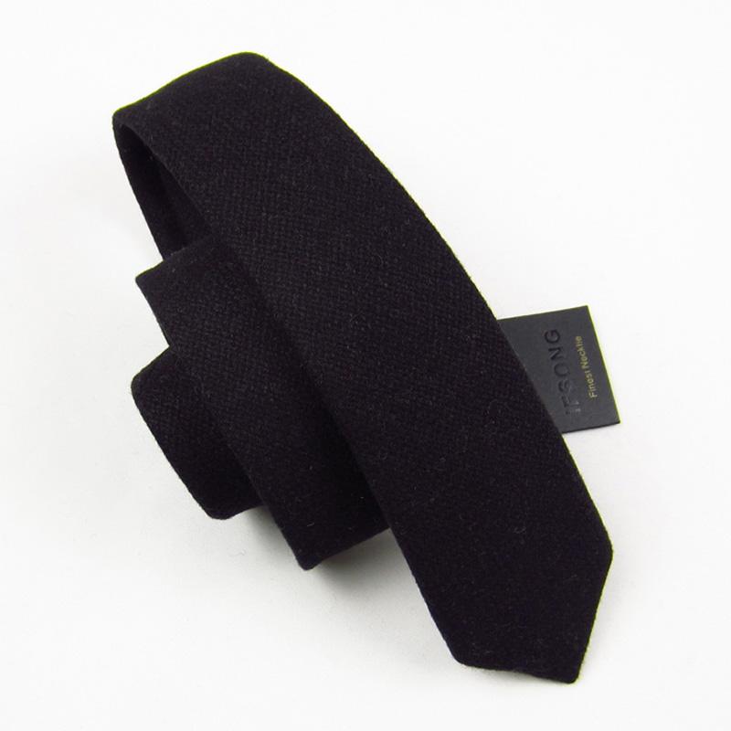 IFSONG 高档男士韩版羊毛窄领带 新郎结婚黑色潮女小领带
