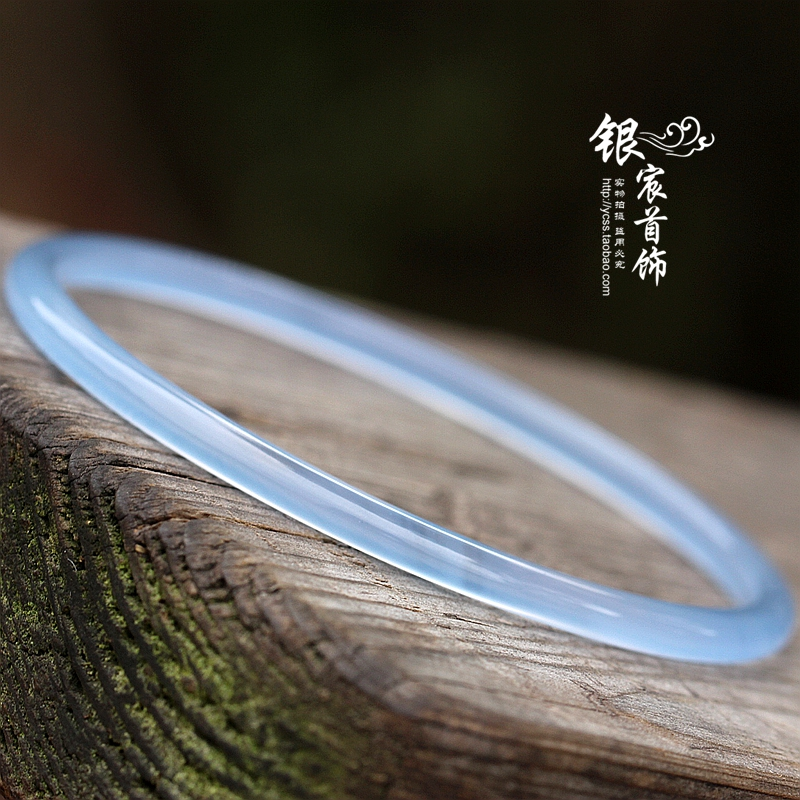 Yinchen jewelry pure natural Blue Chalcedony bracelet genuine white agate jade bracelet retro slim female Bracelet