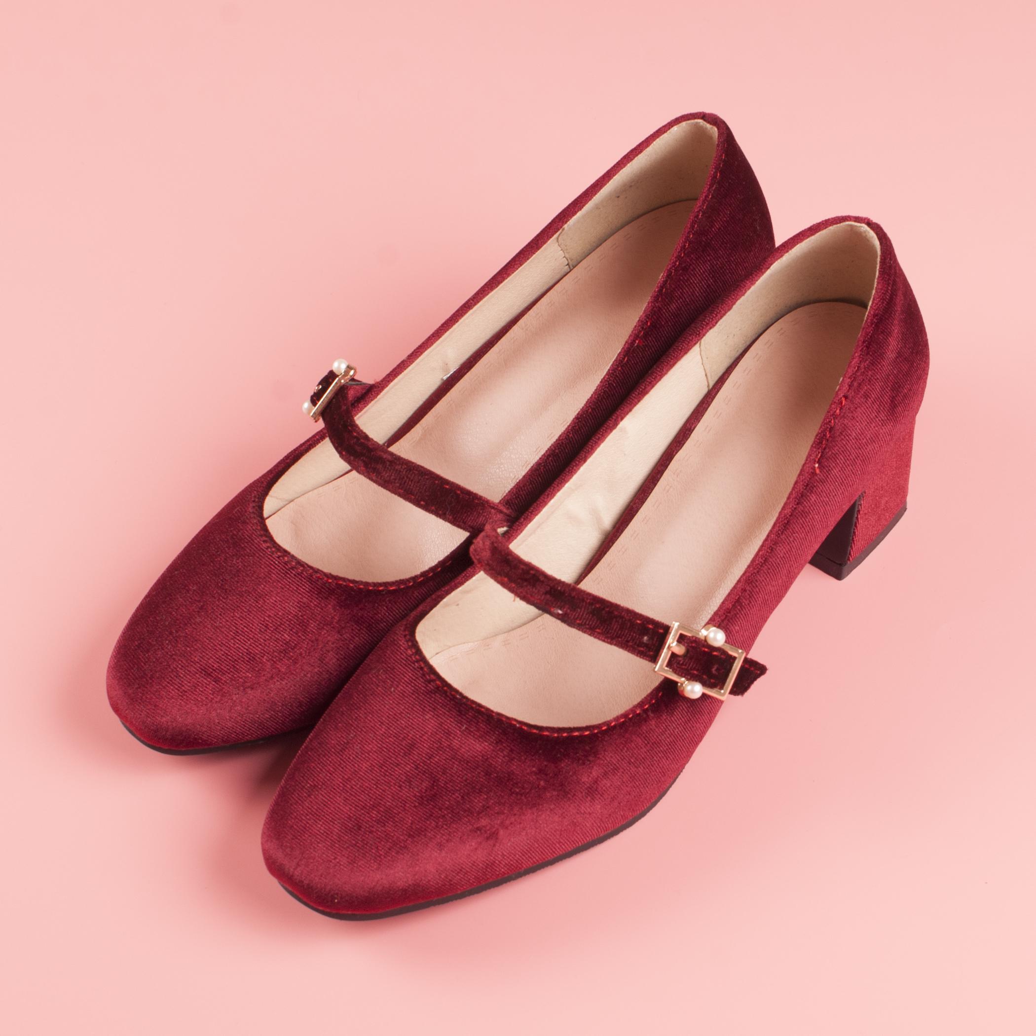 酒红色玛丽珍鞋复古方头奶奶鞋金丝绒赫本鞋中跟芭蕾鞋粉色仙女鞋