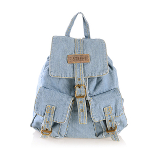 2015 Third Street fashion new Korean female casual denim jeans shoulders back female student book
