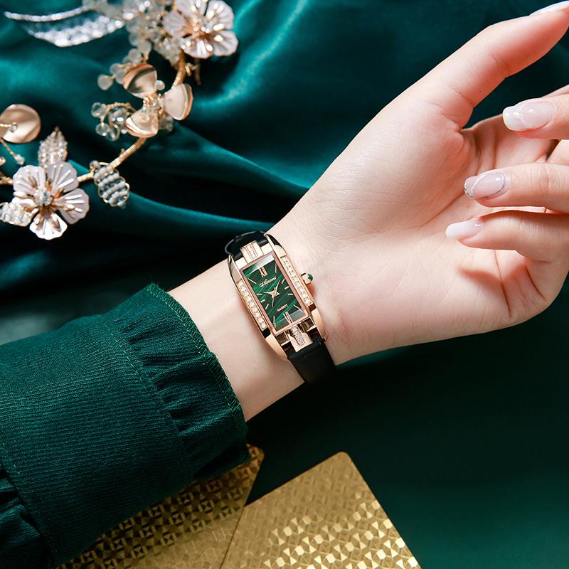 年新款女表官方名牌小绿表手表女士小众夏季正品品牌真皮ABOR2021
