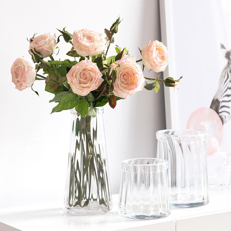 Современный прозрачное стекло ваза гостиная моделирование цветок сухие цветы цветочная композиция украшение купание ваш небольшой свежий гидропоника ваза H