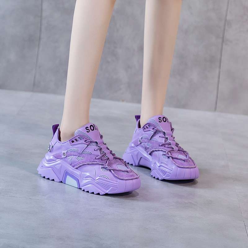 Spring and summer 2020 new genuine leather shoes for father womens purple thick soled breathable sports and leisure shoes Korean luminous running shoes