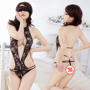 Closer lover Sexy halter hollow chest a transparent leotard sexy lingerie uniform temptation suit women