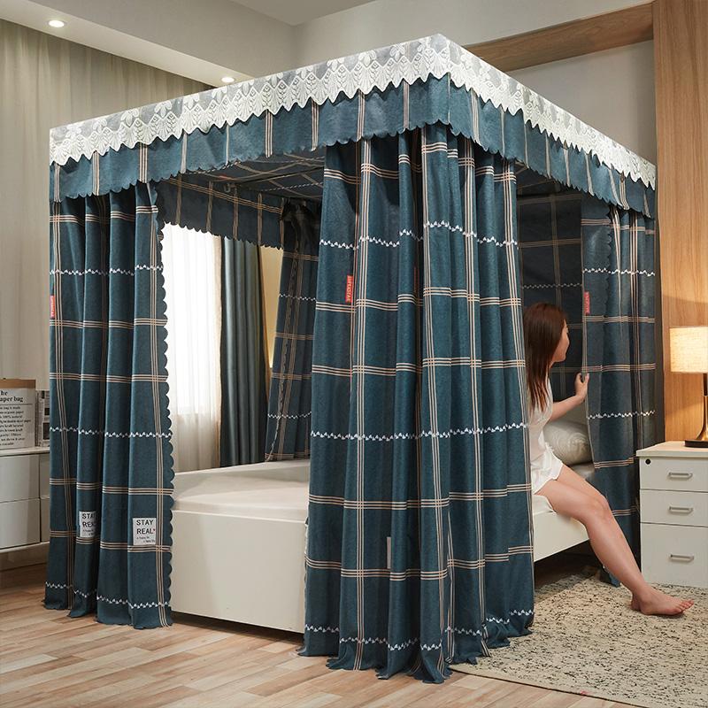 1加厚遮光床幔床帘公主风蚊帐封闭一体式防尘1.5米1.8m双人床家用