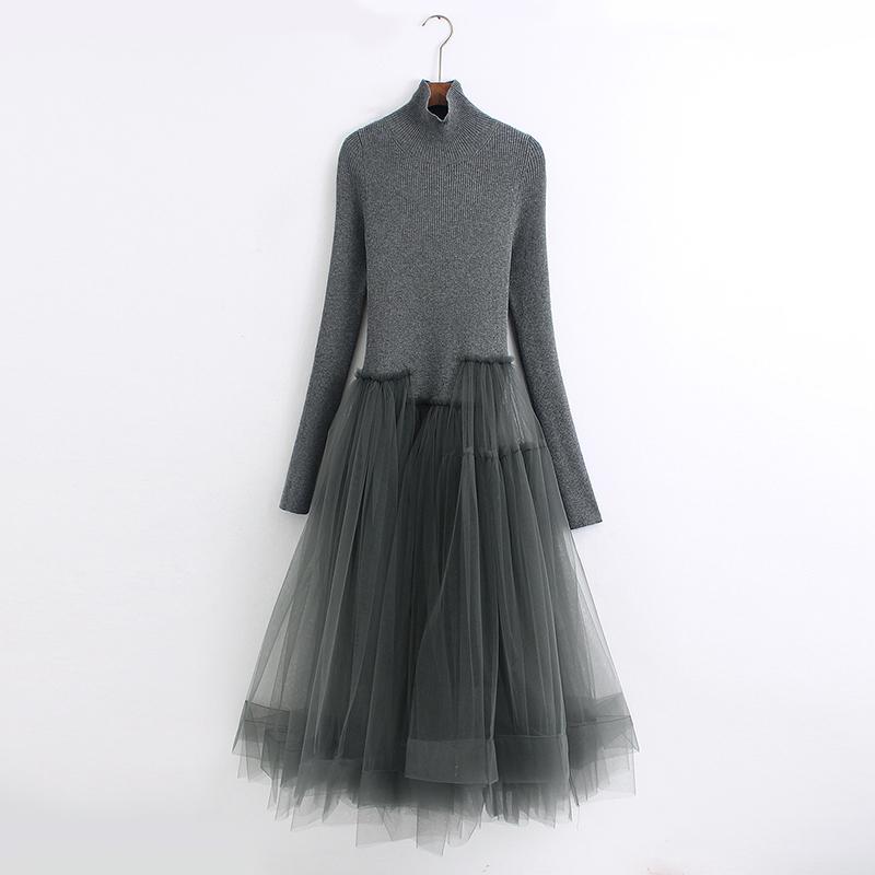 我的高端货2020秋冬新款网纱连衣裙
