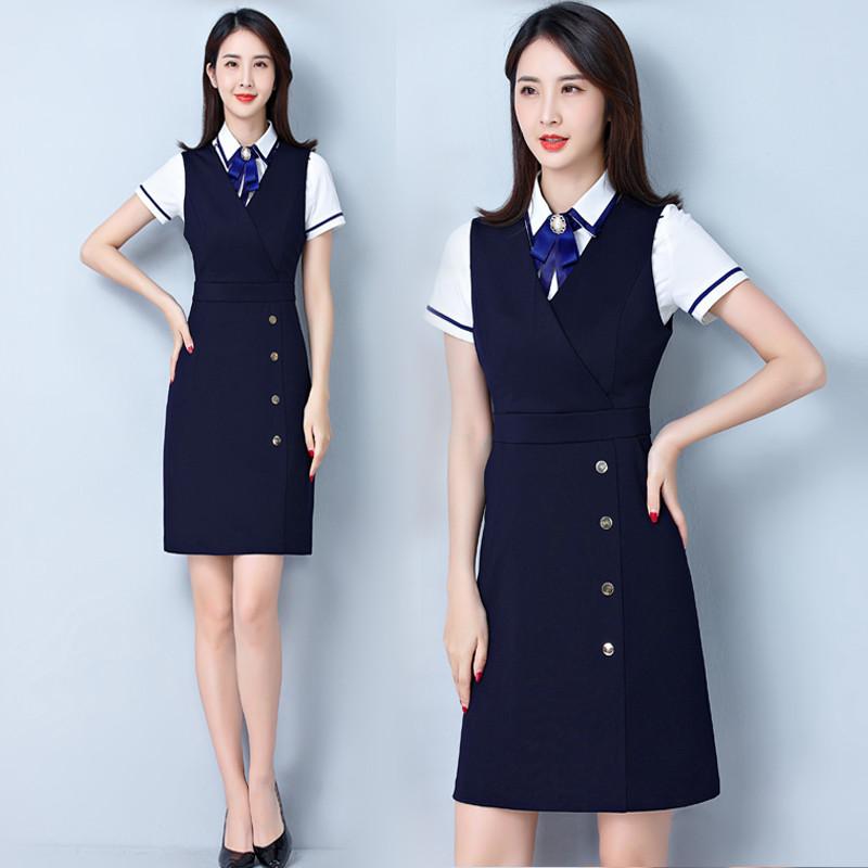 职业套装女夏短袖白衬衫两件套马甲连衣裙气质修身显瘦工作服套裙