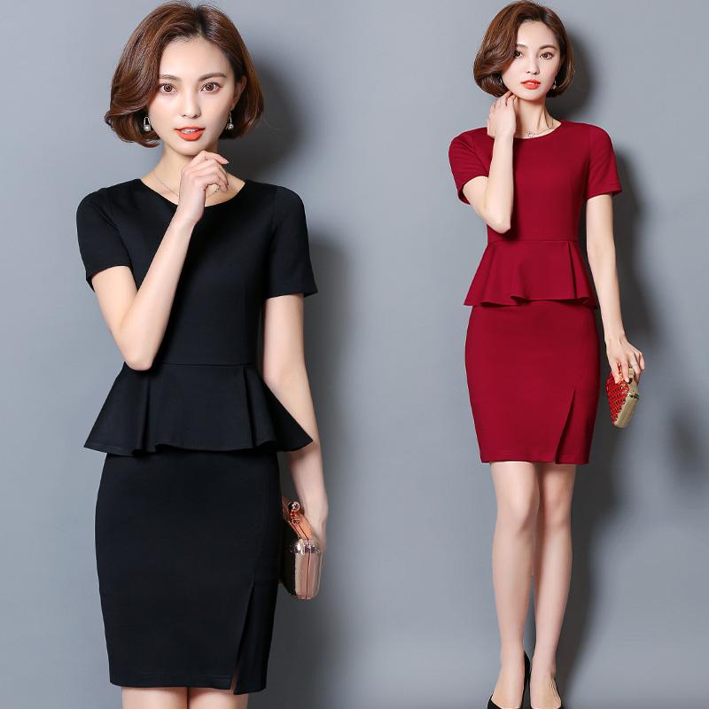 夏装新款气质修身假两件职业装连衣裙女包臀大码显瘦美容师工作服