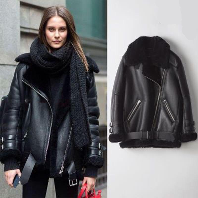 Winter new leather coat thickened fur one-piece coat womens short Korean loose Biker PU leather jacket coat