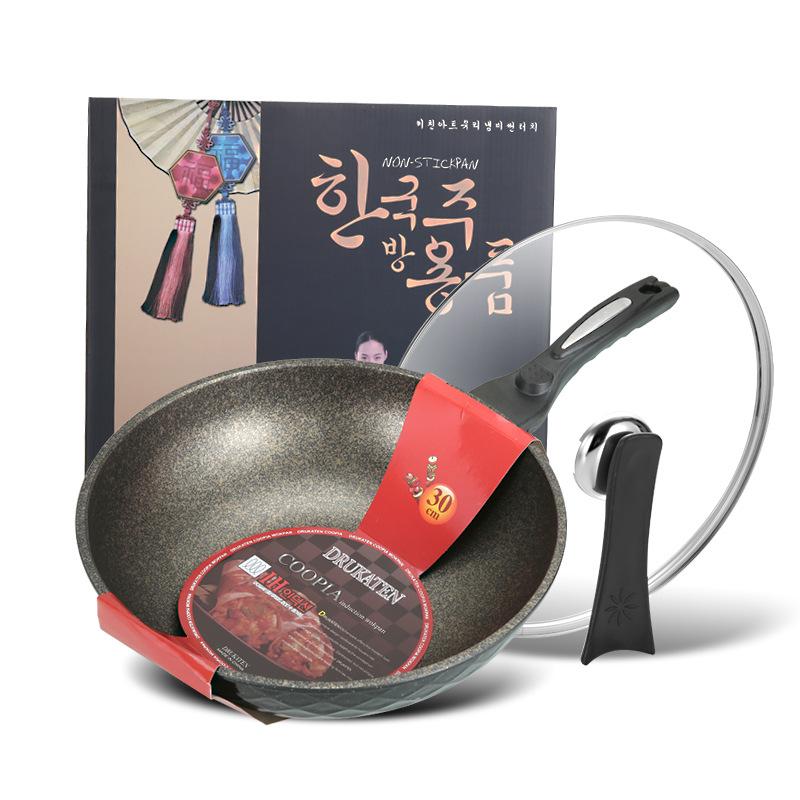 韩国麦饭石炒锅不粘锅平底锅不粘锅具无油烟炒菜锅韩国麦石锅30cm
