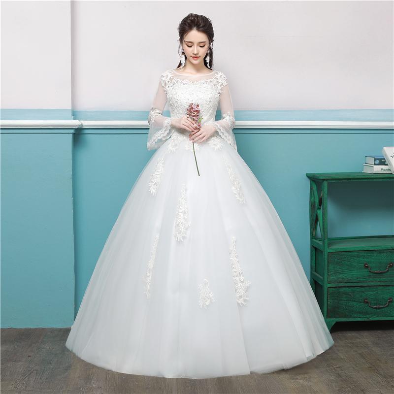 婚纱2018新款一字肩欧式宫廷赫本新娘礼服显瘦简约孕妇韩版婚纱