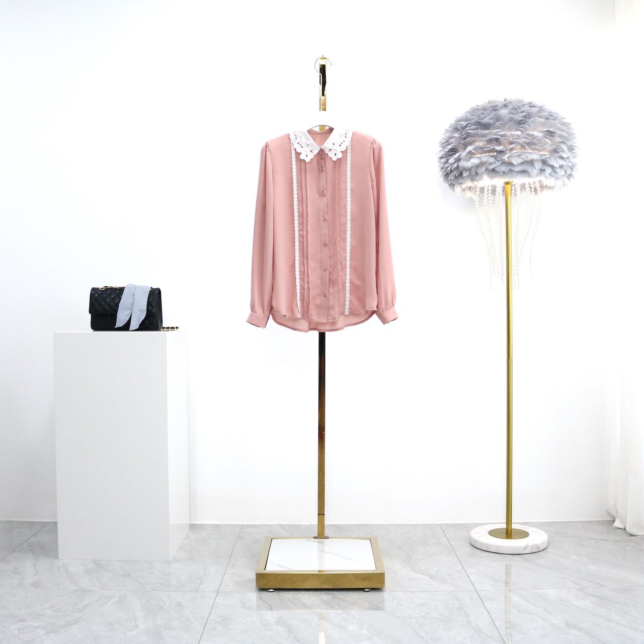 完士2020年夏季新款韩版甜美镂空绣花领长袖衬衫百搭衬衣雪纺衫女
