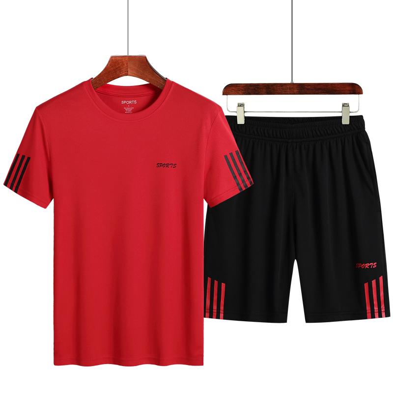 Large badminton sportswear summer plus fat outdoor fast drying sweat absorption breathable running short sleeve T-shirt set men