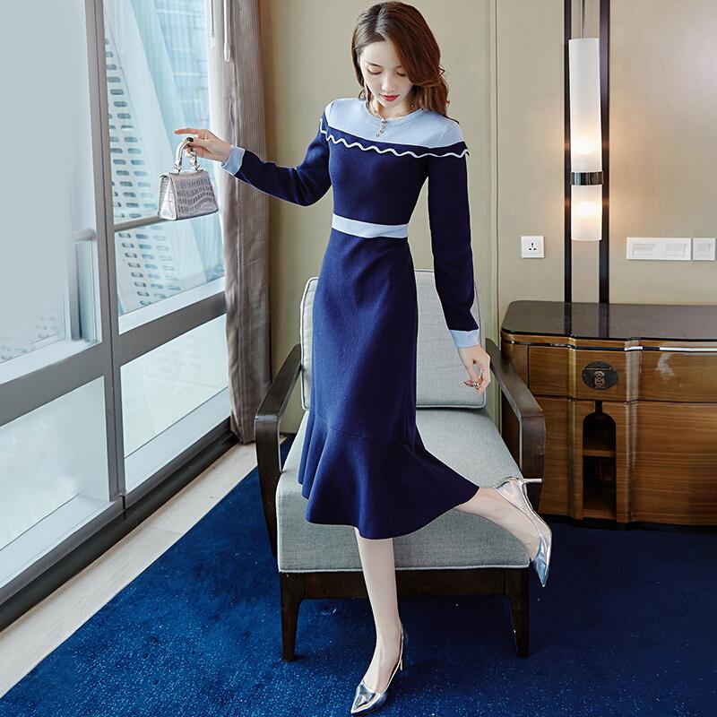 XF韩采西2020秋季新品连衣裙女撞色女神范中长款毛衣裙子时尚过膝图片