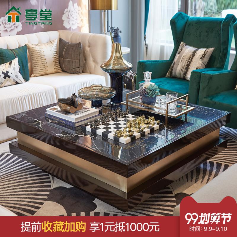 大理石茶几电视柜组合正方形台面后现代简约港式轻奢风格客厅家具