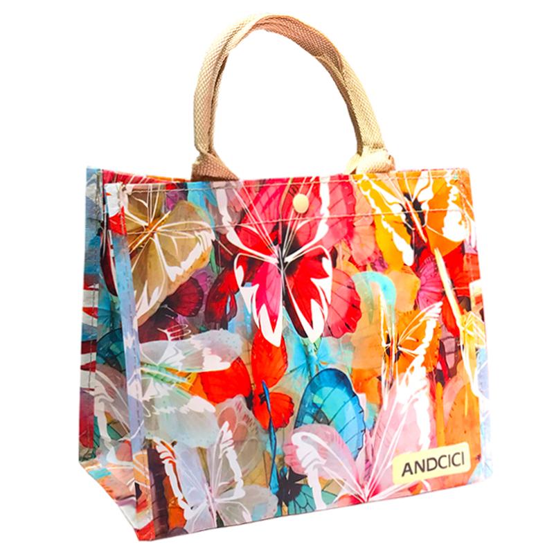 旅行收納度假女單肩手提袋防水袋防水包編織環保 袋大號沙灘包