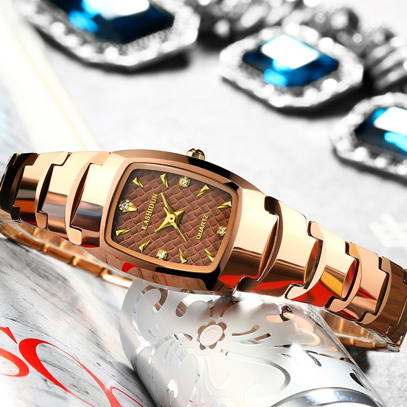 卡诗顿正品防水钨钢女士手表 玫瑰金女表水钻表 复古表 手表女