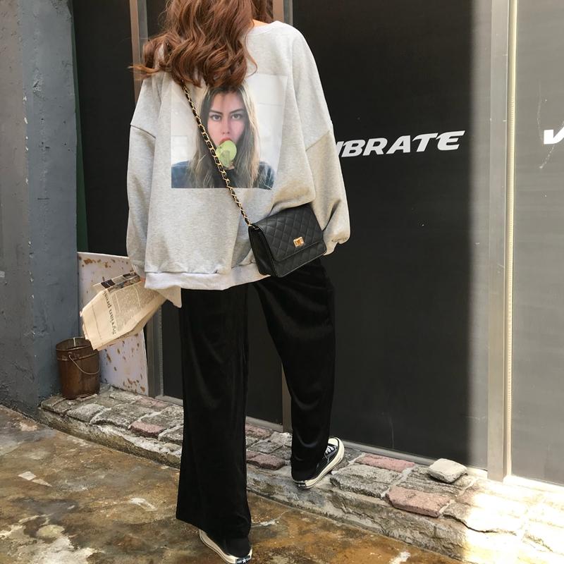 2018秋季韩版女装印花长袖套头卫衣套装+金丝绒阔腿休闲裤两件套