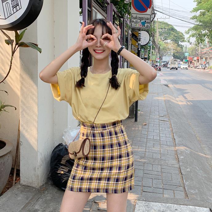 簡約純色短袖打底衫夏季韓版寬松甜美T恤女上衣+高腰格子半身裙