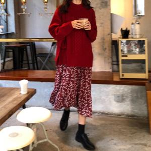 秋装韩国chic宽松长袖麻花绑带毛衣外套+v领碎花连衣裙时尚套装女