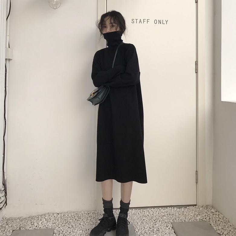 秋冬季韩版女装宽松显瘦过膝中长款针织毛衣裙高领长袖打底连衣裙