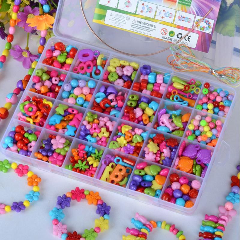 24格兒童串珠手項鏈 女孩 diy益智玩具穿珠材料3歲弱視訓練
