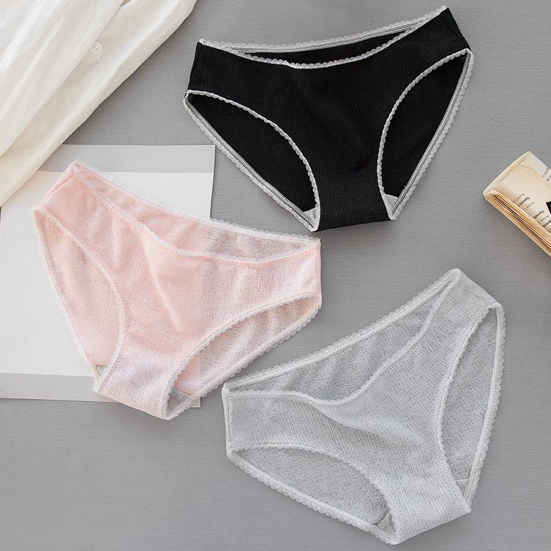运动字母少女生镂空透气内裤女性感低腰蕾丝边女士纯棉裆三角裤头