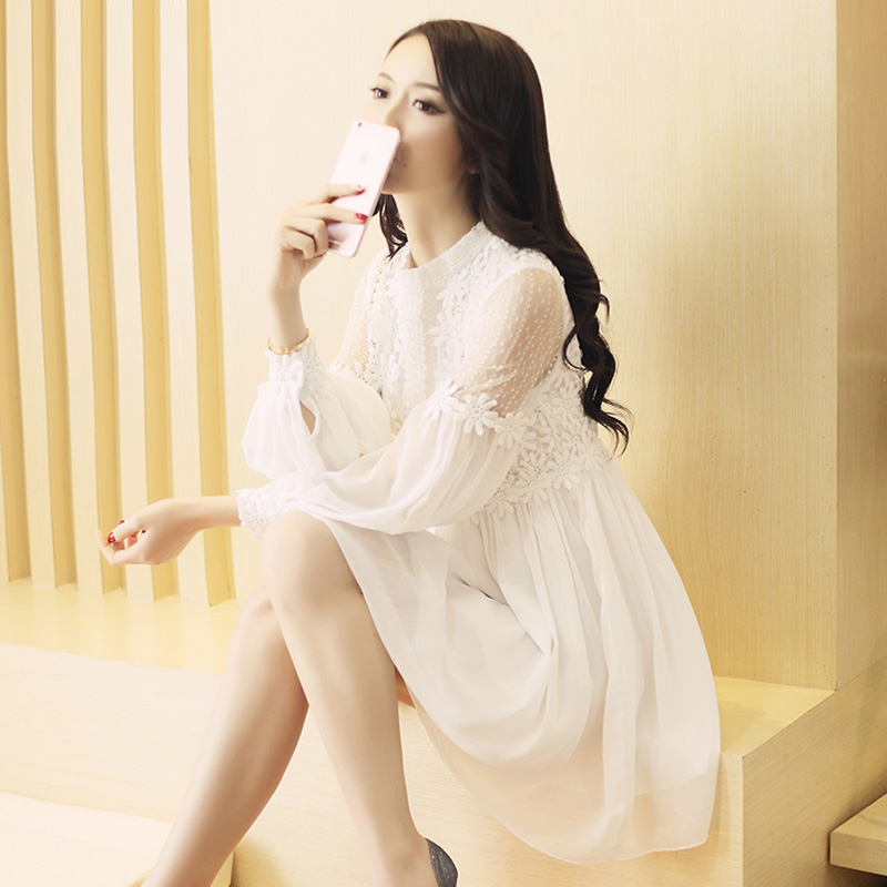 Temperament spring and summer new womens bottom skirt hollowed out Korean fashion long sleeve medium length dress fairy lace skirt