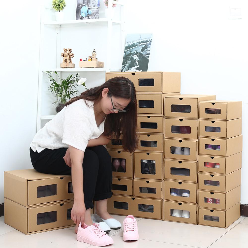 如是心房透明加厚牛皮�收�{盒抽�鲜叫�盒�盒鞋子收�{神器����b