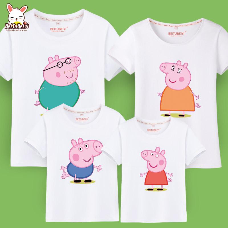 親子裝一家三口裝四口短袖T恤夏裝母女裝母子裝全家裝春裝 潮