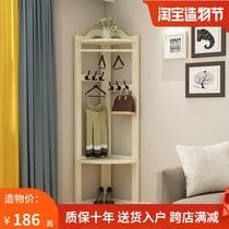 衣帽架落地实木卧室挂衣架转角组合创意墙角衣架置物简约欧式衣架