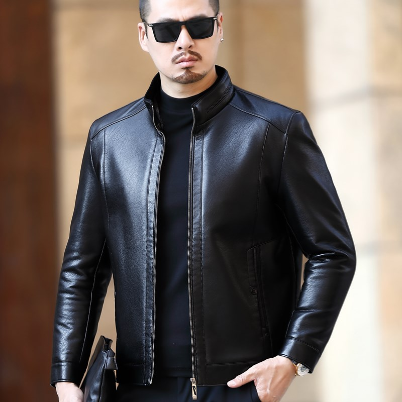 Sheepskin leather leather clothes mens middle-aged fathers clothes Haining winter fur integrated Plush thickened leather jacket