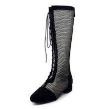 Summer boots, hollow net boots, single boots, laces, low heels, high barrels, white boots, large boots, small boots, 33-43 GT