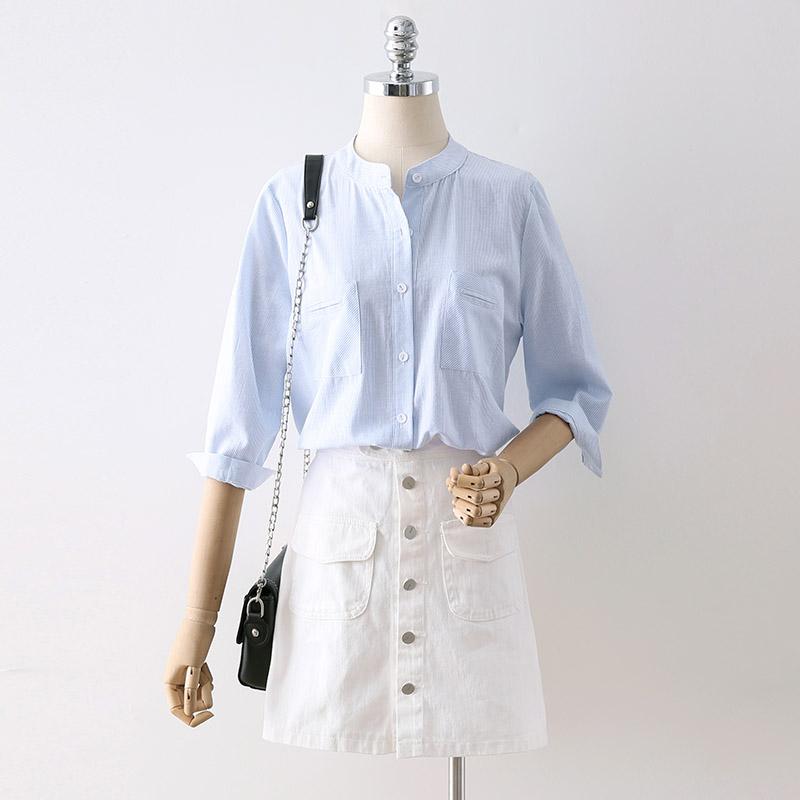 2018夏装新款前短后长双口袋条纹衬衫女五分袖宽松文艺范立领衬衣