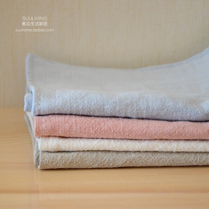 简约现代纯色亚麻白色粉色盖布苎麻