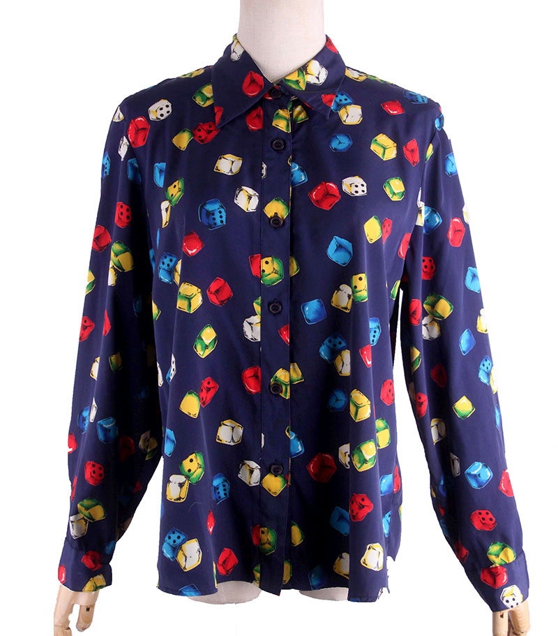 Vintage color dice chess and card pattern foreign style blue long sleeve shirt art Hippie Art