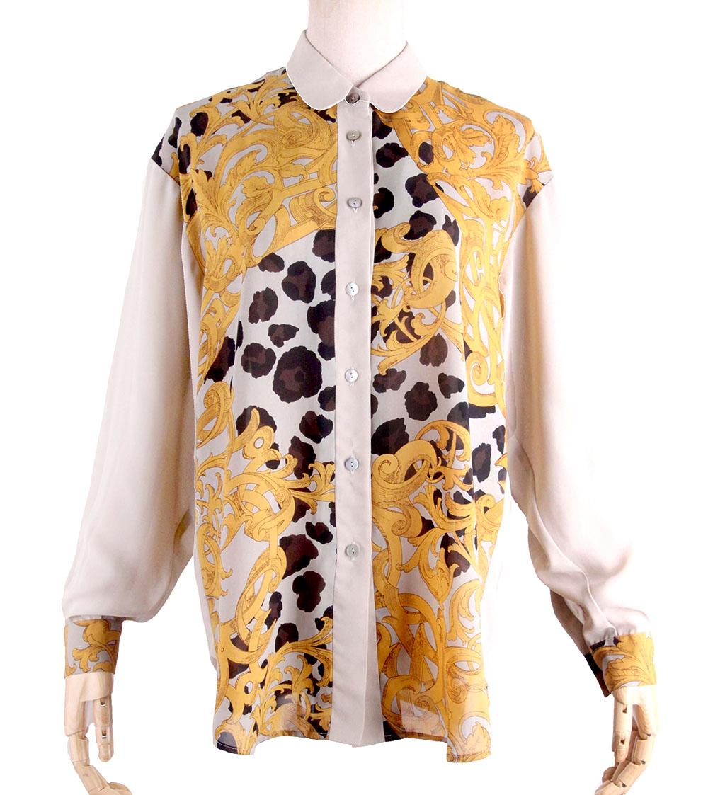 Vintage Vintage Peter collar Lapel animal pattern camel mid length long sleeve shirt straight style